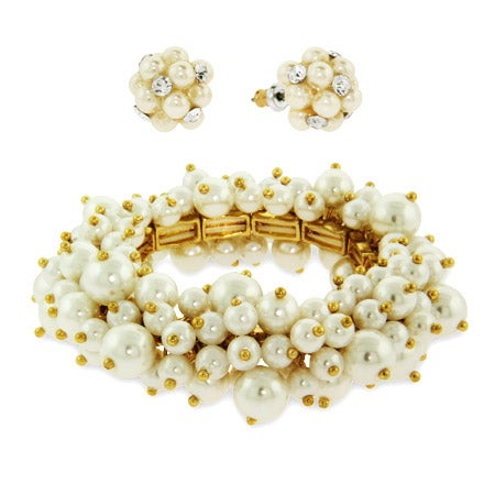 Cluster of Pearl and CZ Earring and Bracelet Set | Eve's Addiction®