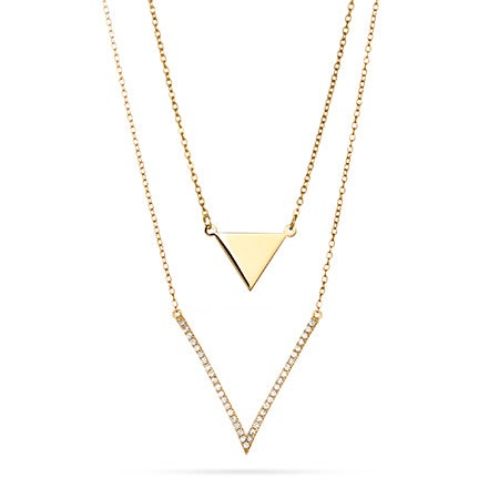 Petite Triangle and CZ V Gold Vermeil Layered Necklace Set