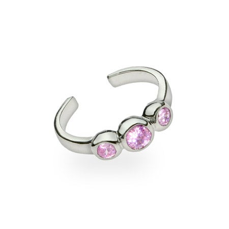 Round Cut Pink CZs Sterling Silver Toe Ring | Eve's Addiction®