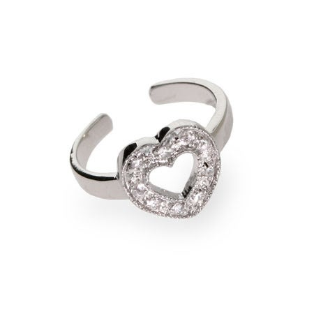 Sterling Silver Open Heart CZ Toe Ring | Eve's Addiction®
