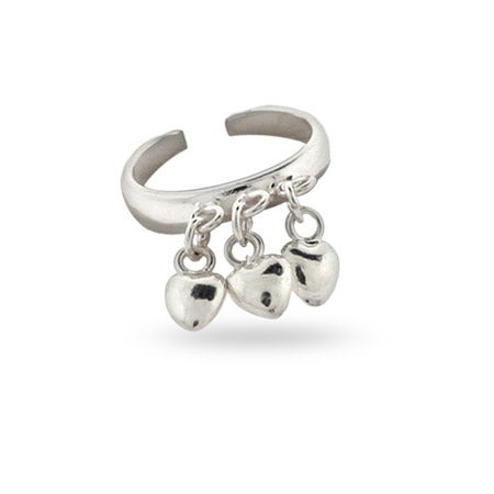 Sterling Silver Dangling Hearts Toe Ring | Eve's Addiction®