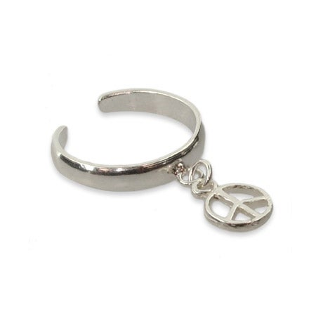 Sterling Silver Dangle Peace Sign Toe Ring | Eve's Addiction®