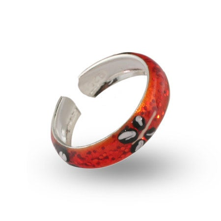 Orange Sparkle Enamel Dragonfly Sterling Silver Toe Ring | Eve's Addiction®
