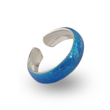 Blue Sparkle Sterling Silver Enamel Toe Ring | Eve's Addiction®
