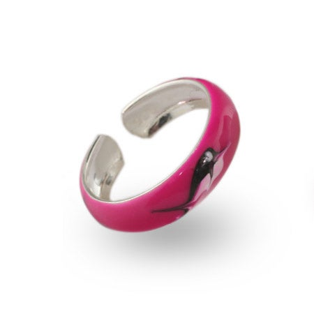 Pink Enamel Nautical Sterling Silver Toe Ring | Eve's Addiction®