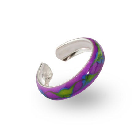Leaf Design Purple Enamel Sterling Silver Toe Ring | Eve's Addiction®