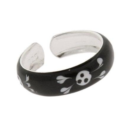Enamel Sterling Silver Skull and Crossbones Toe Ring | Eve's Addiction®