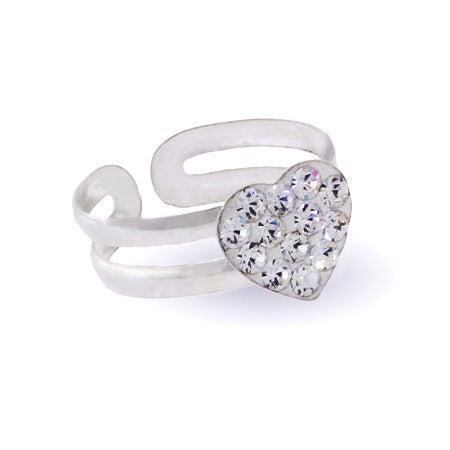Sparkling Swarovski Crystal Sterling Silver Heart Toe Ring | Eve's Addiction®