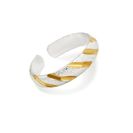Two Tone Diamond Cut Toe Ring in Sterling Silver   Eve's Addiction®