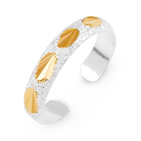 Sterling Silver Gold Accent Diamond Cut Toe Ring | Eve's Addiction®