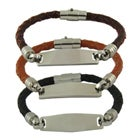 Womens Braided Leather ID Bracelet