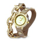 Chain Link CZ Beige and Gold Wrap Watch