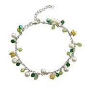 Peridot Stones & White Pearls Anklet