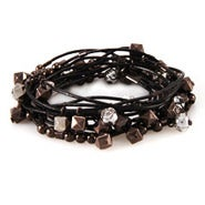 Black Leather Multi Beaded Convertible Wrap Bracelet