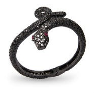 Black CZ Python Bangle Bracelet