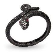 Black CZ Python Bangle Bracelet