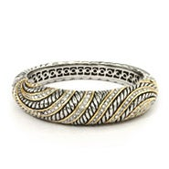 Designer Inspired Bold and Beautiful CZ Two Tone Bangle Bracelet