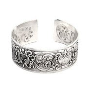 Koi Fish Design Wide Bali Cuff Bracelet