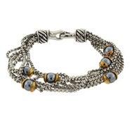 Designer Inspired Six Strand Gray Pearl Bracelet