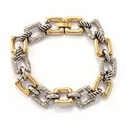 Designer Inspired Two Tone CZ Square Link Bracelet