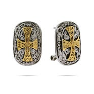 Designer Inspired Renaissance Style Gold Cross Earrings
