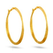 Gold Frosted Clip On Hoop Earrings