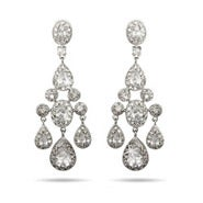 Teardrop and Oval CZ Chandelier Earrings
