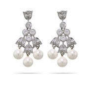 CZ and Pearl Tulip Dangle Earrings