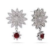 Garnet Dangle CZ Sunflower Earrings