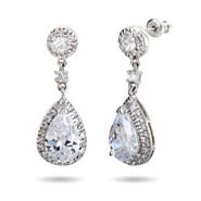 Sparkling Pearcut CZ Drop Earrings