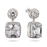 Glamorous Cushion Cut CZ Dangle Earrings
