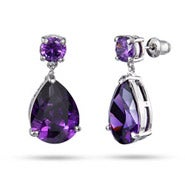 Red Carpet Style Amethyst CZ Peardrop Earrings