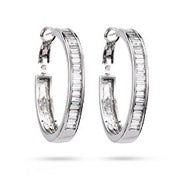 Baguette Cut CZ Hoop Earrings