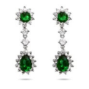 Emerald CZ Peardrop Earrings