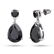 Dusky Black CZ Faceted Peardrop Earrings
