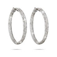"Dazzling 1.75"" Inside Outside Pave CZ Hoop Earrings"