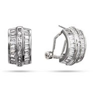 Baguette Cut CZ Half Hoop Leverback Earrings