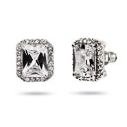 Exquisite 4 Carat Emerald Cut CZ Stud Earrings