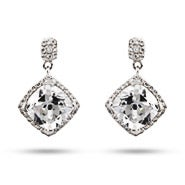 Glitzy Glam Cushion Cut CZ Dangle Earrings