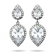 Double Peardrop CZ Dangle Glamorous Earrings