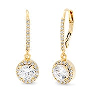 Gold Plated Brilliant Cut CZ Classic Leverback Earrings