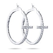 Sideways Cross CZ Hoops Earrings
