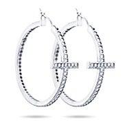 Sideways Cross CZ Hoops Earrings