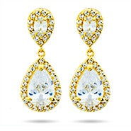 Gold Pearcut CZ Drop Earrings