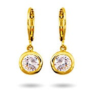 Gold Dangling Bezel Set CZ Earrings