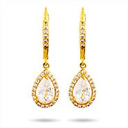 Gold Pearcut Halo CZ Dangling Earrings