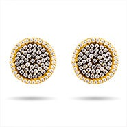 Round Pave Gold and Black CZ Stud Earrings