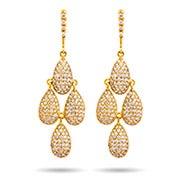 Gold Pave Peardrop Dangling Chandelier Earrings