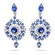 Glamorous Sapphire Starburst CZ Drop Earrings