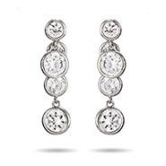 Inside Out Bezel CZ Drop Earrings